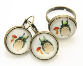 Earrings and ring totoro mei
