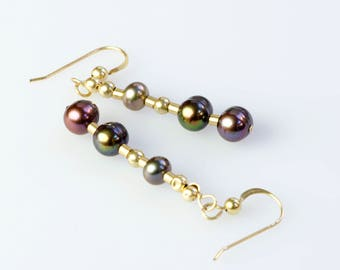 Chocolate Peacock Pearl Earrings, Real Pearl Dangle Earrings, Linear Drop Earrings, Stylish Modern Earrings, 14K Gold Filled Earrings