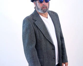 Vintage 70s Gray Harris Tweed Blazer, Wool Herringbone Blazer, Vintage Harris Tweed Sport Coat, Mens Blazer, Mens Sport Coat, 46 R, L
