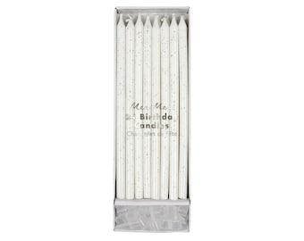 White & Silver Glitter Tall Birthday Cake Candles- 24 ct. | tall birthday candles | skinny birthday candles | Meri Meri