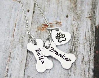 Dog Necklace Personalized -  Dog Paw Necklace - Dog Jewelry - Paw Print - Pet Memorial - Dog Bone Charm Necklace - Sympathy Gift