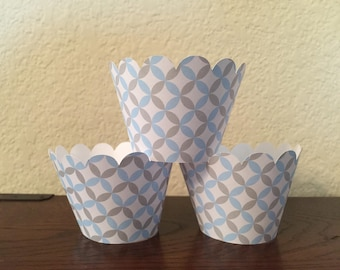 Blue, Gray and White Cupcake Wrappers set of 12 Ready to Ship