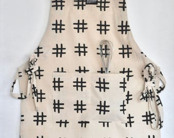 Work Apron, Heavy Canvas Apron, Black and White Neutral  Print, Natural Cotton Canvas, Pocket Apron, Unisex Apron, Adjustable Apron, Hashtag
