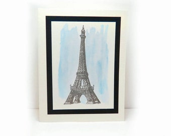 Set of 5 Eiffel Tower Cards, Blank Card, Blank Greeting Cards, Eiffel Tower Greeting Card, Note Card, French Card, Paris Card, France Card