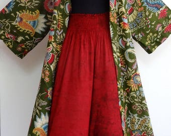 Kimono dressing gown green and multicolor designs pailsley and matching Burgundy pants