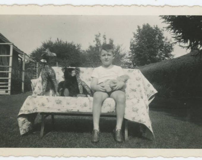 Boy & Stuffed Animal Collection, c1940s: Vintage Snapshot Photo (77595)