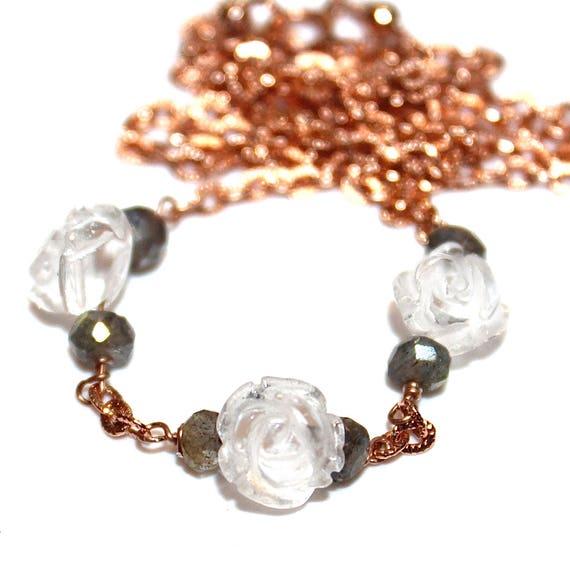 Quartz Rose Necklace in Rose Gold Vermeil