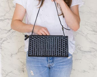 Black woven leather bag   Small leather purse   Clutch bag woven