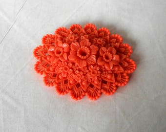 Vintage Brooch Pin Molded Celluloid Coral Colored