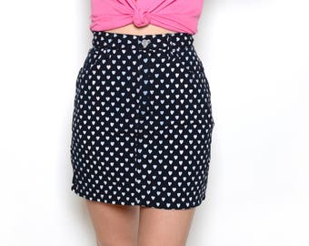 Vintage 90's ESPRIT Heart Print Mini Skirt Sz S/M