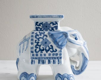 Vintage Blue and White Ceramic Elephant Table Plant Stand