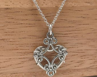 Silver Filigree Heart Necklace, Edgy Jewelry, Feminine, Stainless Steel Chain, Gift Ideas for Her, Great for Sensitive Skin
