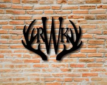 Metal Monogram Sign, Custom Metal Name Sign, Deer Antler Decor, Custom Rustic Signs, Fireplace Mantel Decor, Metal Monogram Letters