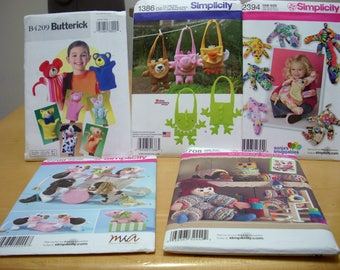 FREE SHIPPING! Lot of 5 Baby plush toy sewing patterns All UNCUT.