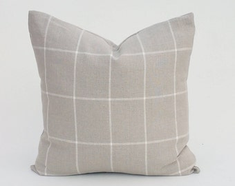 Ralph Lauren Windowpane Plaid In Gray And White Pillow Cover