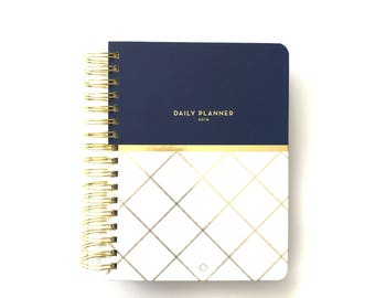 2018 Anchored Press Daily Devotional Planner - Navy Lattice