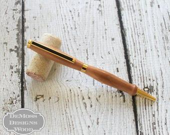 Wood Cherry Pen, Wood Turned, Slim Line Style, Black Ink, Gold Finish, Stocking Stuffer, Graduation Pen, Boss Day Pen