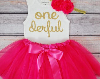 One-derful First birthday outfit girl Hot pink and gold birthday outfit 1st birthday girl outfit Baby girl first birthday outfit Onederful