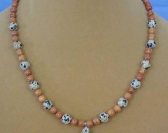 "18"" Dalmation Jasper and Wood Necklace - N541"