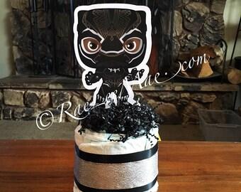 Black Panther Baby Super Hero Diaper Cake/Super Heroes diapercakes/Super Hero Baby Shower decorations/black panther birthday/Superman/batman