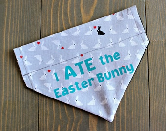 Personalized Easter Pet Bandana, Over the Collar, Collar NOT include, I ate the Easter Bunny, Funny Cat Bandanna, Rabbit, Spring, Customize