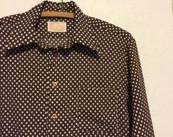 Vintage 1970s Brown & White Polka Dot Polyester Shirt ~ M