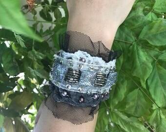 Boho Shabby Chic/Rocker Lace Cuff Bracelet