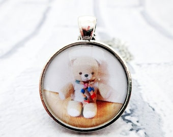 Teddy Bear Pendant,Teddy Necklace,Teddy Jewelery,Bear charm,Vintage Teddy bear,Gift for her,Cute necklace,Tween jewelry,vintage style