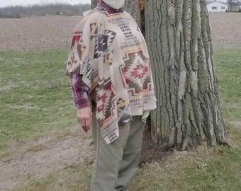 Daryl Dixon Style Poncho In Southwest Print Fleece   Walking Dead