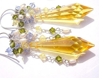 /BRIOLETTES Silver 925 yellow SWAROVSKI crystal earrings. UNIQUE...