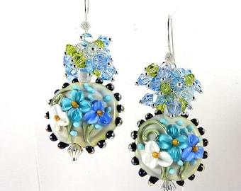LAMPWORK Lampwork argent925.bleu swarovski crystal earrings.