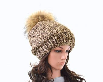 SALE Chunky Slouchy Woman Knit Hat Beanie Toque with Large Fur Pom Pom | The Charlotte