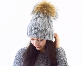 Double Brim Knit Slouchy Hat with Large Fur Pom Pom | The Winona