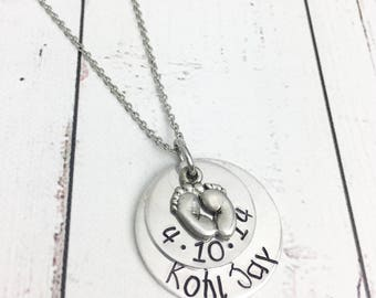 Baby Name Necklace - Baby Feet Necklace - Child Necklace - Baby Necklace - Stamped Mom Necklace - Custom Mom Necklace - Baby Feet