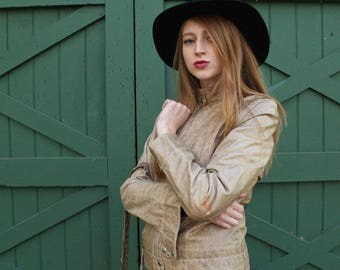 Vintage Tan CAFE JACKET Distressed Lamb Leather long sleeved High Collar Zips Up Mojo Cycle Coat Cach'e USA Made Mod Women Size Small Jacket