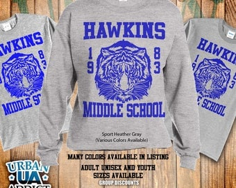 Hawkins Middle School Crew Fleece Sweaters. Unisex Adult and Youth. Professional Screen Print. Inspired by the TV series Stranger Things.