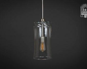Pendant Light Fixture | Edison Bulb | Brushed Nickel | Pendant | Kitchen Light | Light Fixture | Pendant Light | Drum Shade