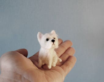 Miniature Westie Puppy, Little Dollhouse Puppy, Needle Felted West Highland White Terrier - made to order
