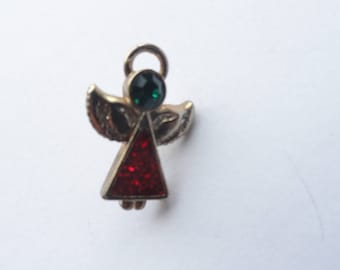 Vintage Red, Green & Gold Tone Angel Pin