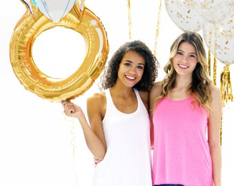 Gold Wedding Ring and Confetti Balloons - Metallic Mylar Ring Balloon Kit, Bridal balloons, bachelorette banner, bridal shower balloons