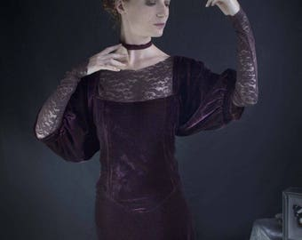 "the ""old-fashioned"" Plum silk velvet dress"