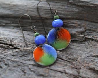 Colorful Copper Enamel Disc Earrings with Lampwork Bead