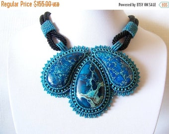 15% SALE Statement Beadwork Bead Embroidery Pendant Necklace with  blue sea sediment jasper - BLUE GARDENS - blue, black and mint