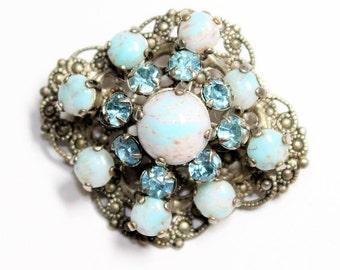 Czechoslovakian Turquoise Blue Filigree Silver Coloured Sparkly Blue Rhinestone Diamante Small Vintage Brooch (c1950s) - Wedding