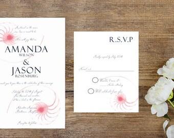 Beach Seashell Wedding Invitation Printable-Seashell Invitation-Beach Digital Wedding Invitation-Destination Wedding-Beach Wedding Cards