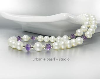 Amethyst Gemstone and Pearl Necklace Single Strand Freshwater Pearl Adjustable Clasp