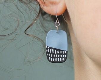 Rounded Rectangle Handmade Earrings
