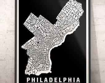 Philadelphia map art, Philadelphia art print, Philadelphia typography map, Philadelphia neighborhood map with title, several color options