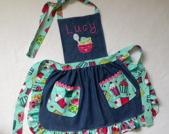 Toddler / Children Apron Personalized Handmade Blue Denim Cotton and Cotton Accents Embroidery Applique With Ruffles Pockets and Rickrack