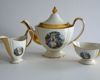 Royal Winton Grimwades England Vintage Tea Pot and Cream and Sugar, Victorian Scene